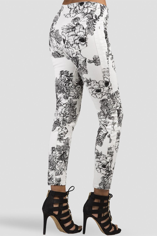 Women Rose Print Skinny Jeans