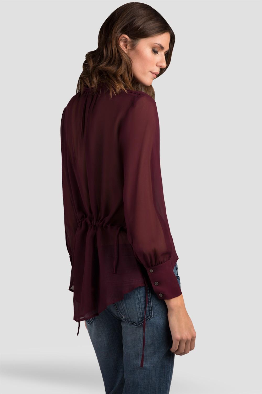 Women Burgundy Drawstring Silk Blouse
