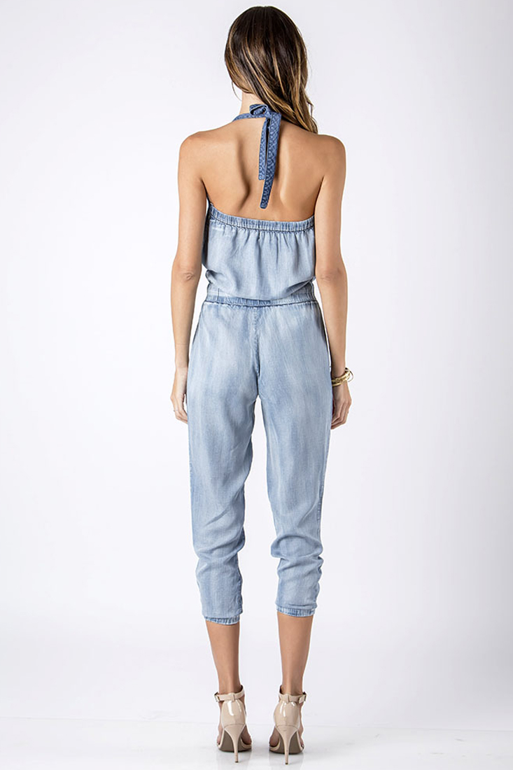 Women Denim Crossover Jumpsuit