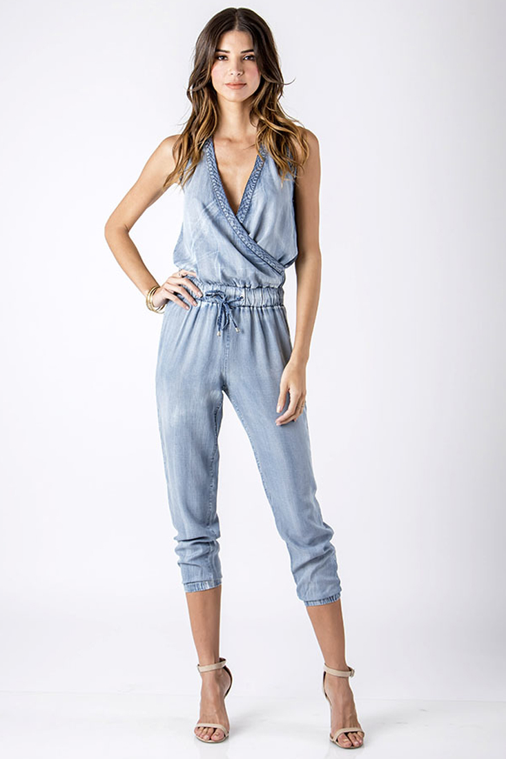 Women Denim Crossover Halter Jumper