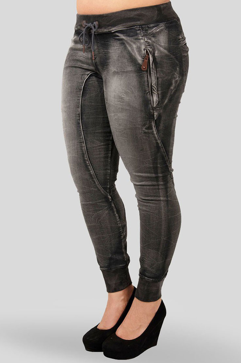 Candice Charcoal Grey Denim Knit Jogger Pants Plus