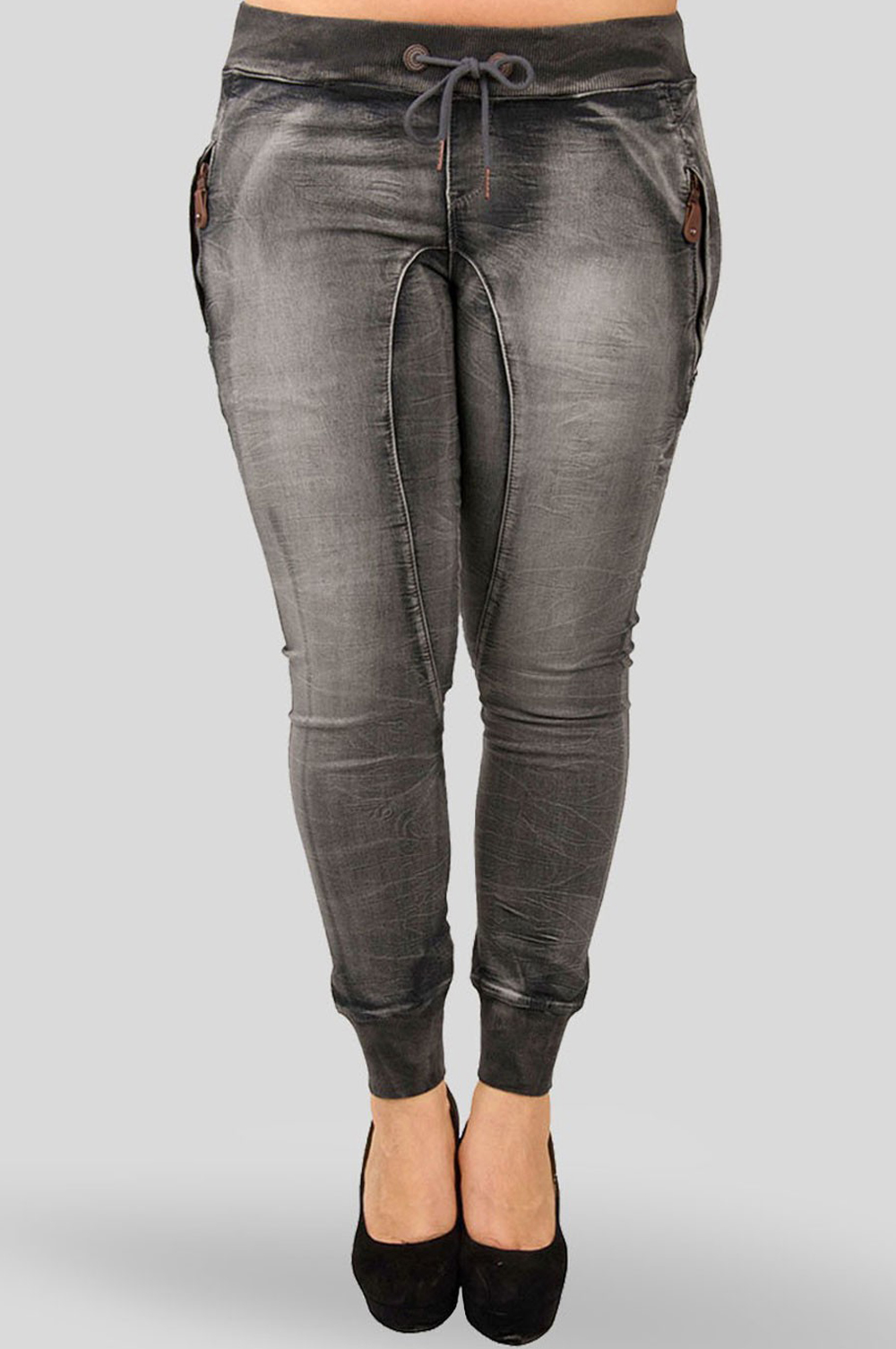 Women Charcoal Denim Knit Joggers plus