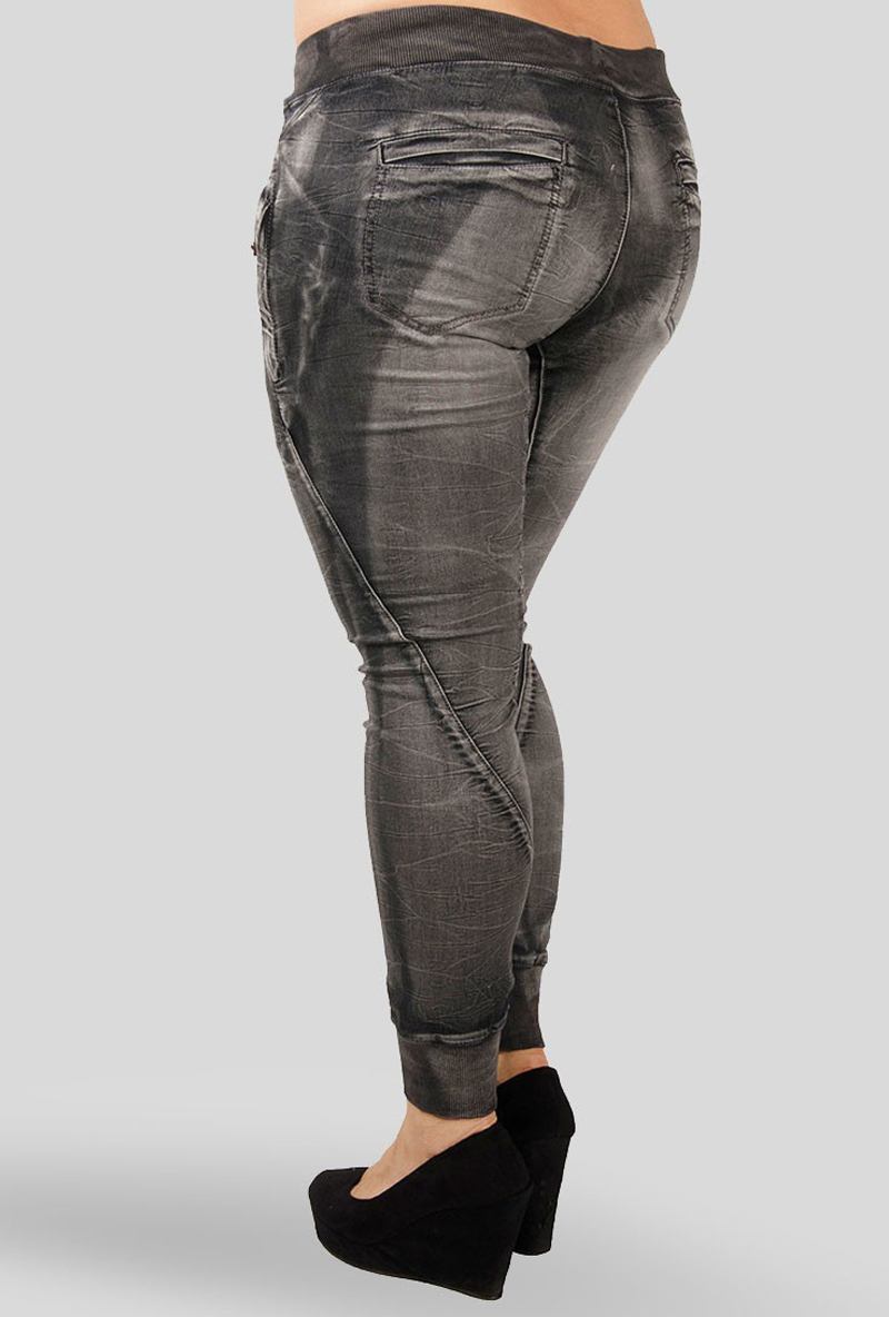 Women Charcoal Denim Jogger Pants plus