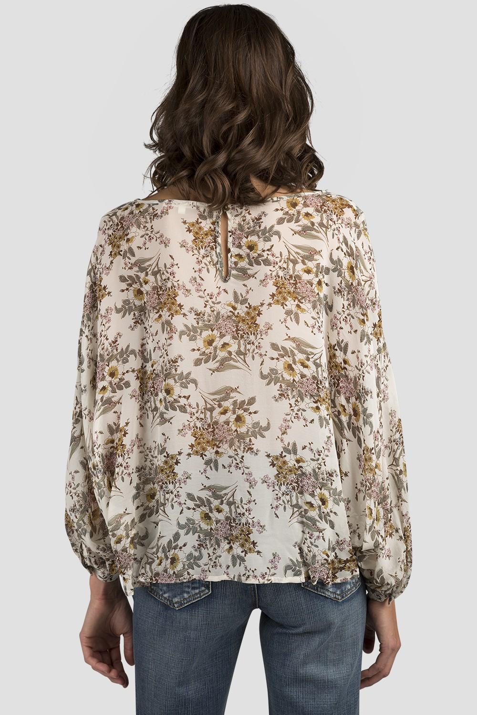 Women Vintage Floral Print Silk Blouse