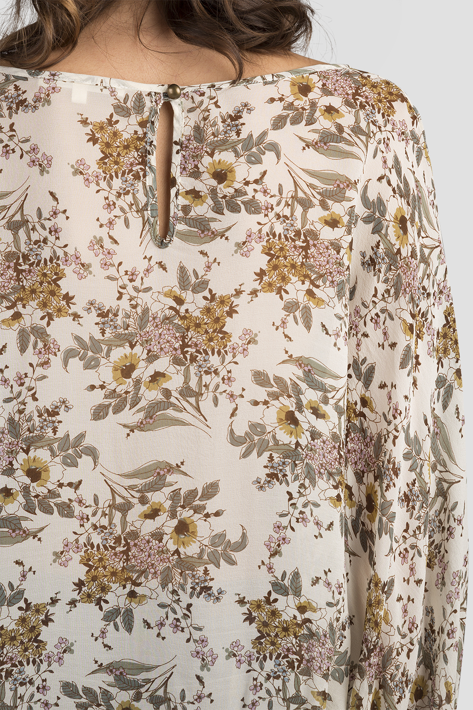 Women Vintage Daisy Print Silk Blouse