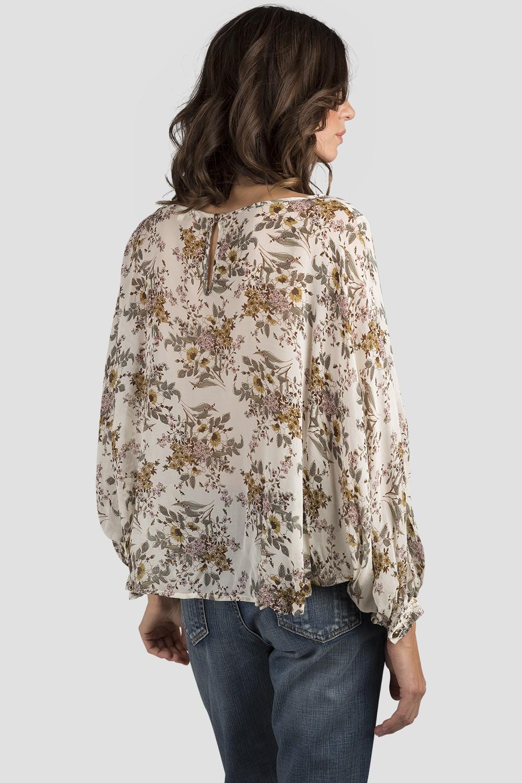 Vintage Daisy Print Silk Blouse