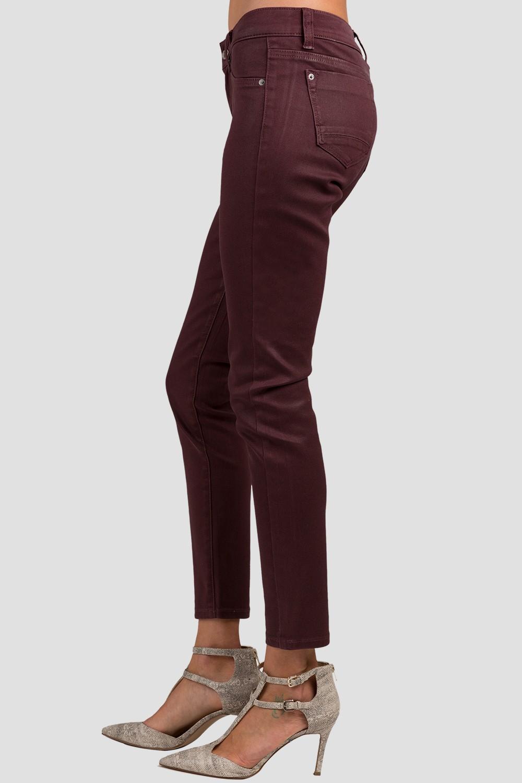 Colored Denim Burgundy Cabernet Coated Cigarette Skinny Jeans
