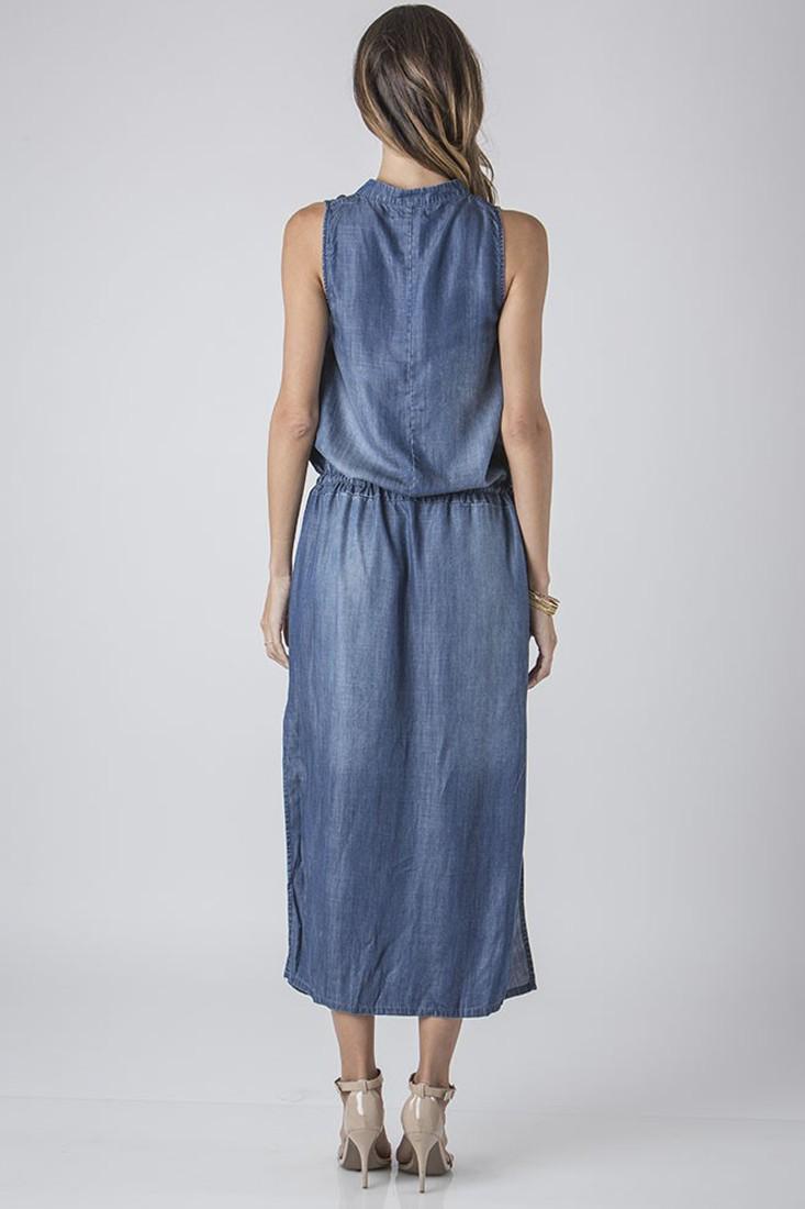 Women Denim Tencel Maxi Dress w/ Waist Drawstring