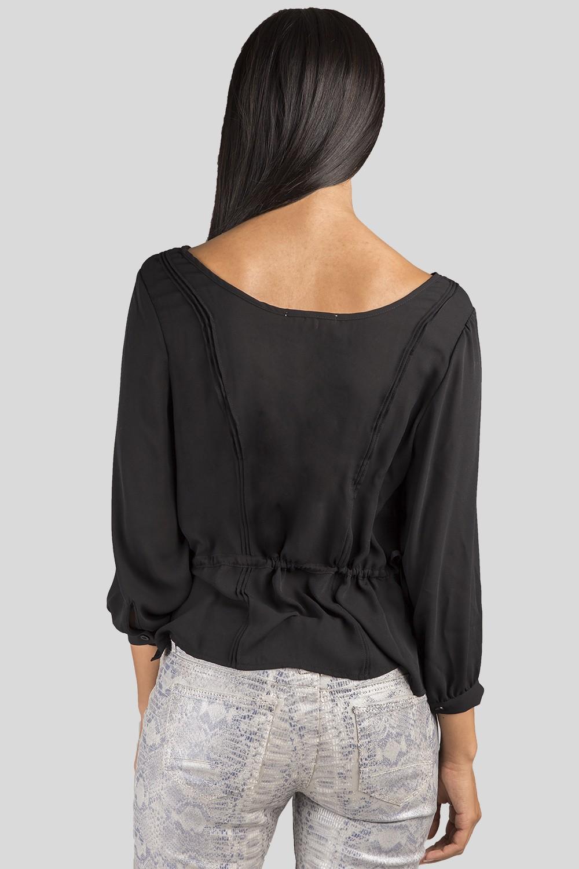 Women Black Chiffon Long Sleeve Top