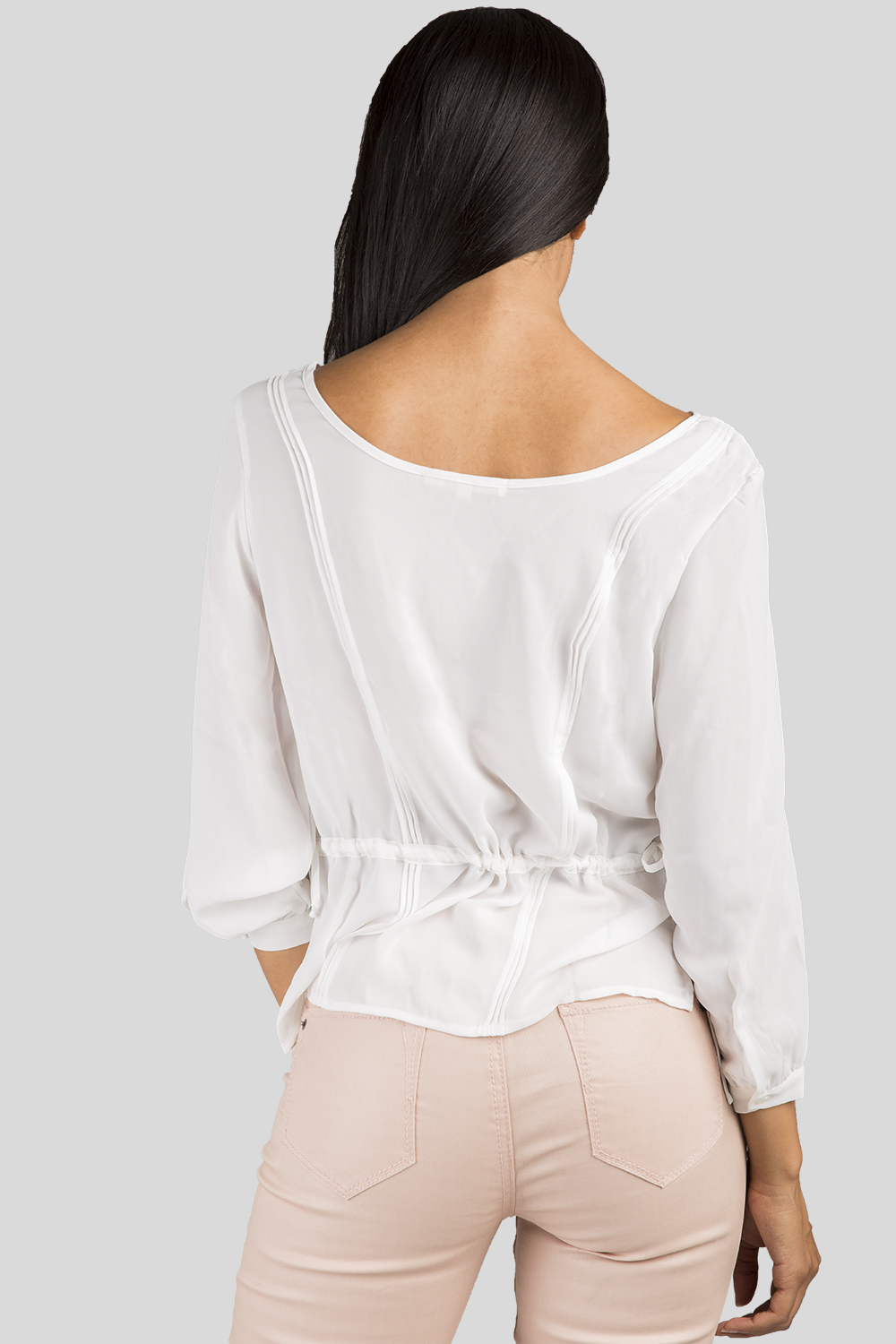 Women White Chiffon Long Sleeve Top
