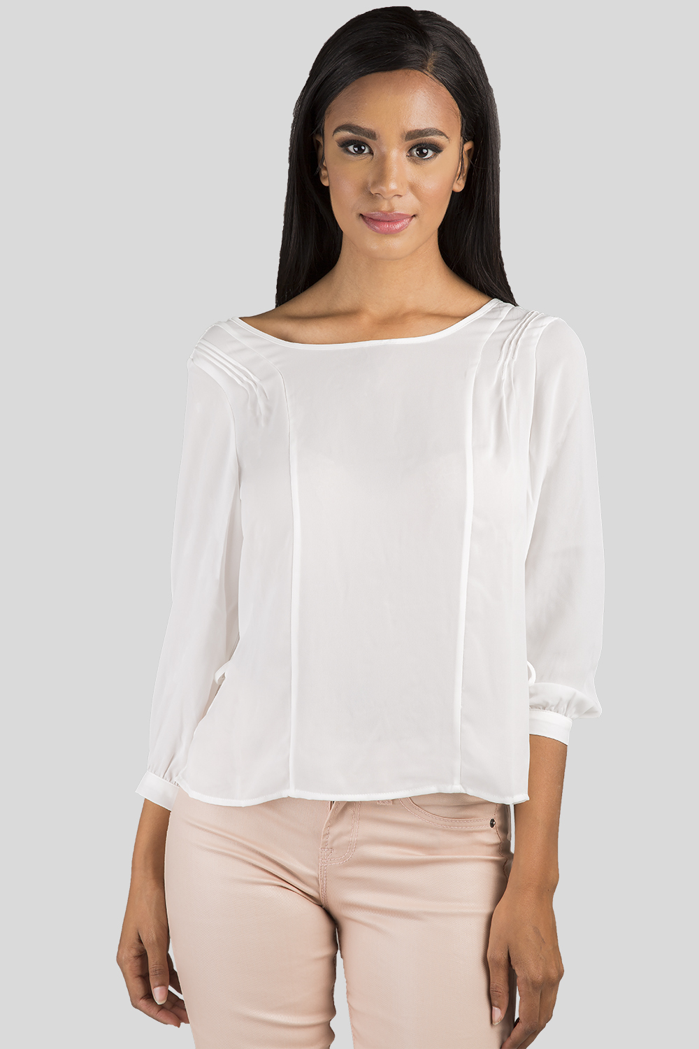 Women White Chiffon Pull Over Blouse
