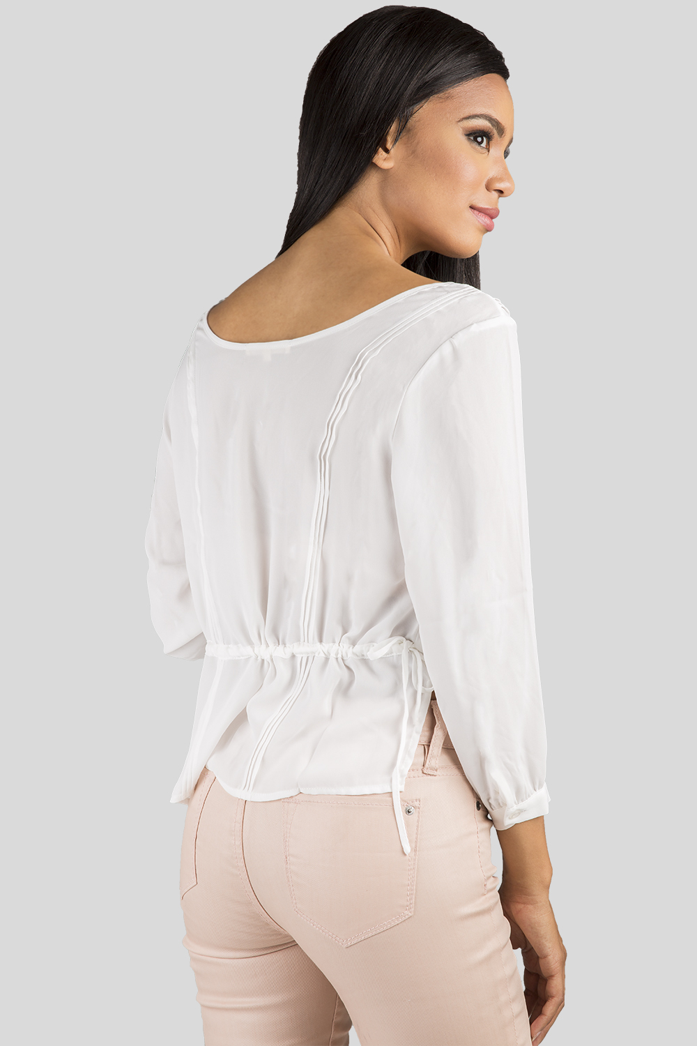 Women White Chiffon Boxy Blouse
