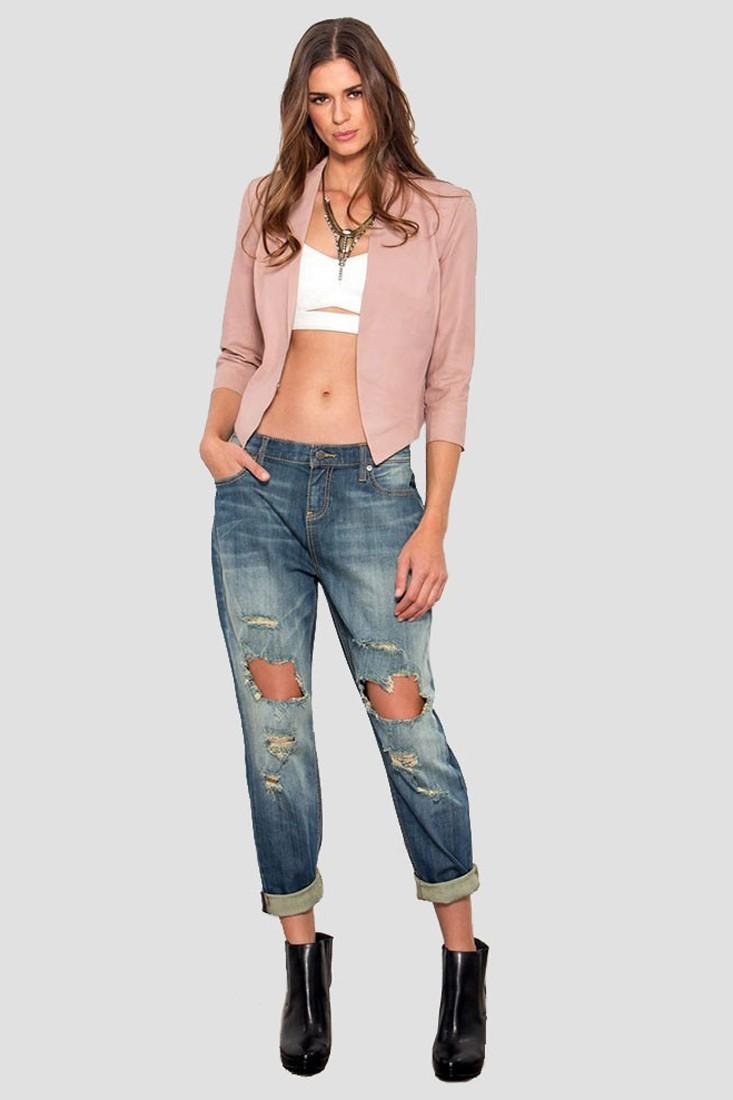 Women Destroyed Boyfriend Jeans