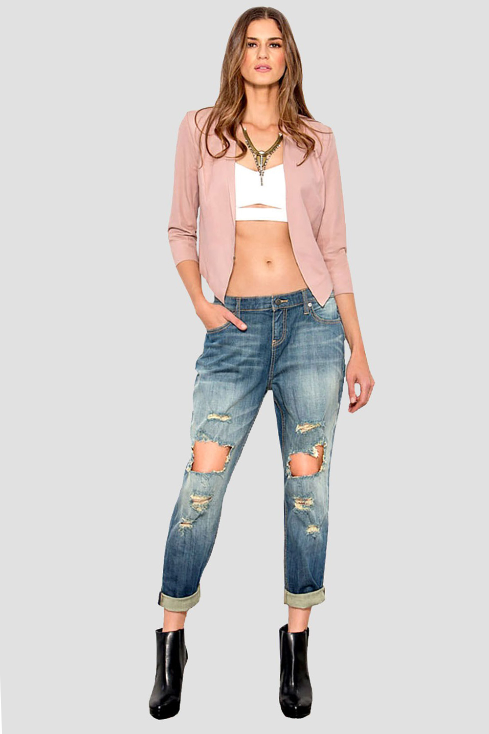 Women Low Rise Destroyed Jeans