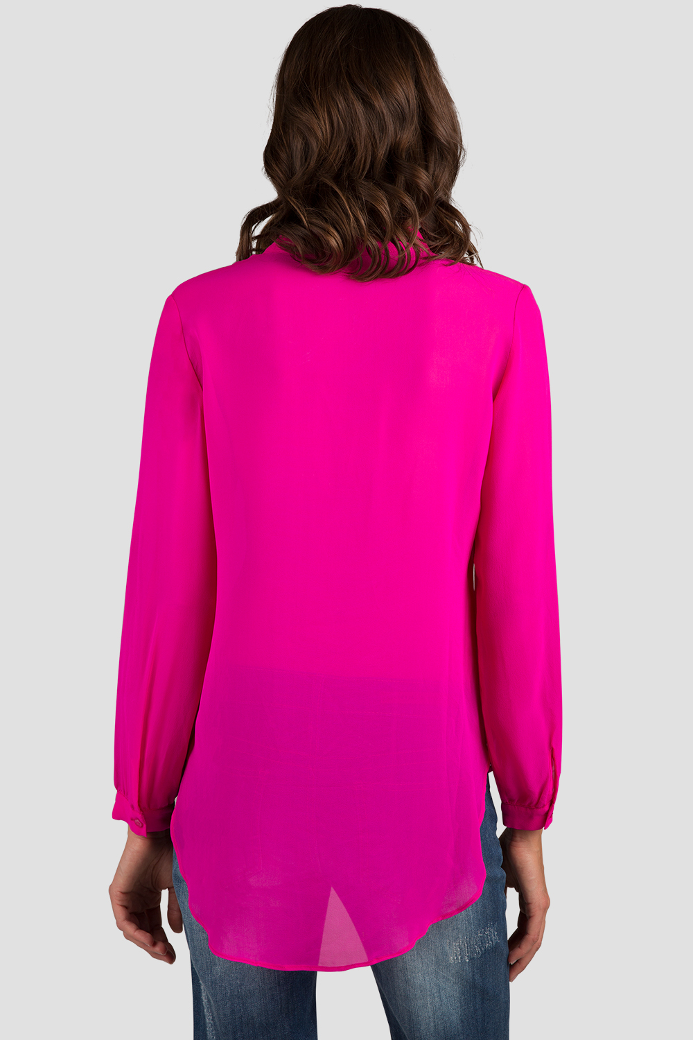 Hot Pink Button Down Chiffon Blouse