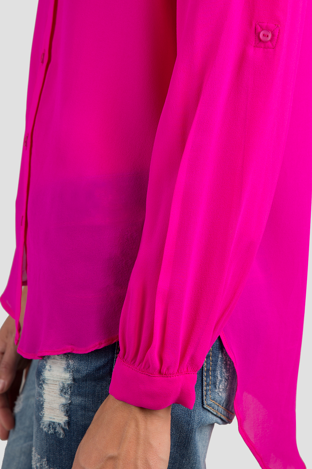Women Hot Pink Button Down Dress Shirt