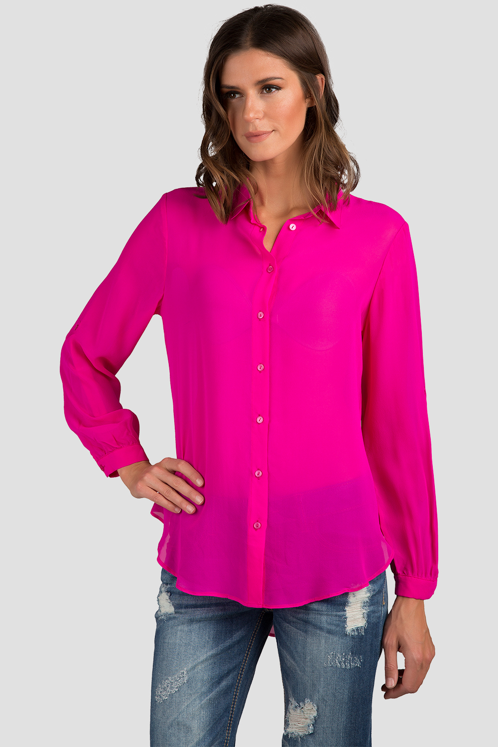 Women Hot Pink Button Down Chiffon Blouse