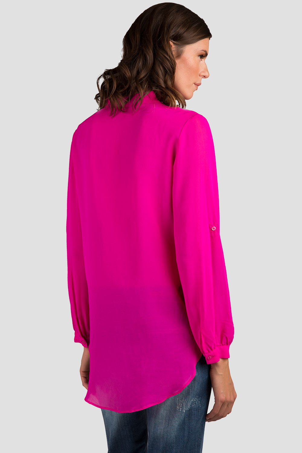 Women Hot Pink Silk Blouse