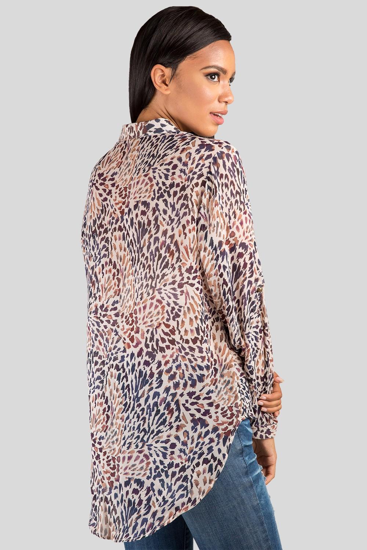 Feather Print Button Down Silk Blouse