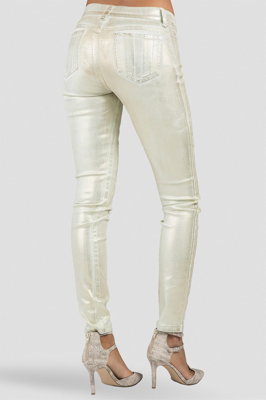 Women Metallic Mint Skinny Jeans