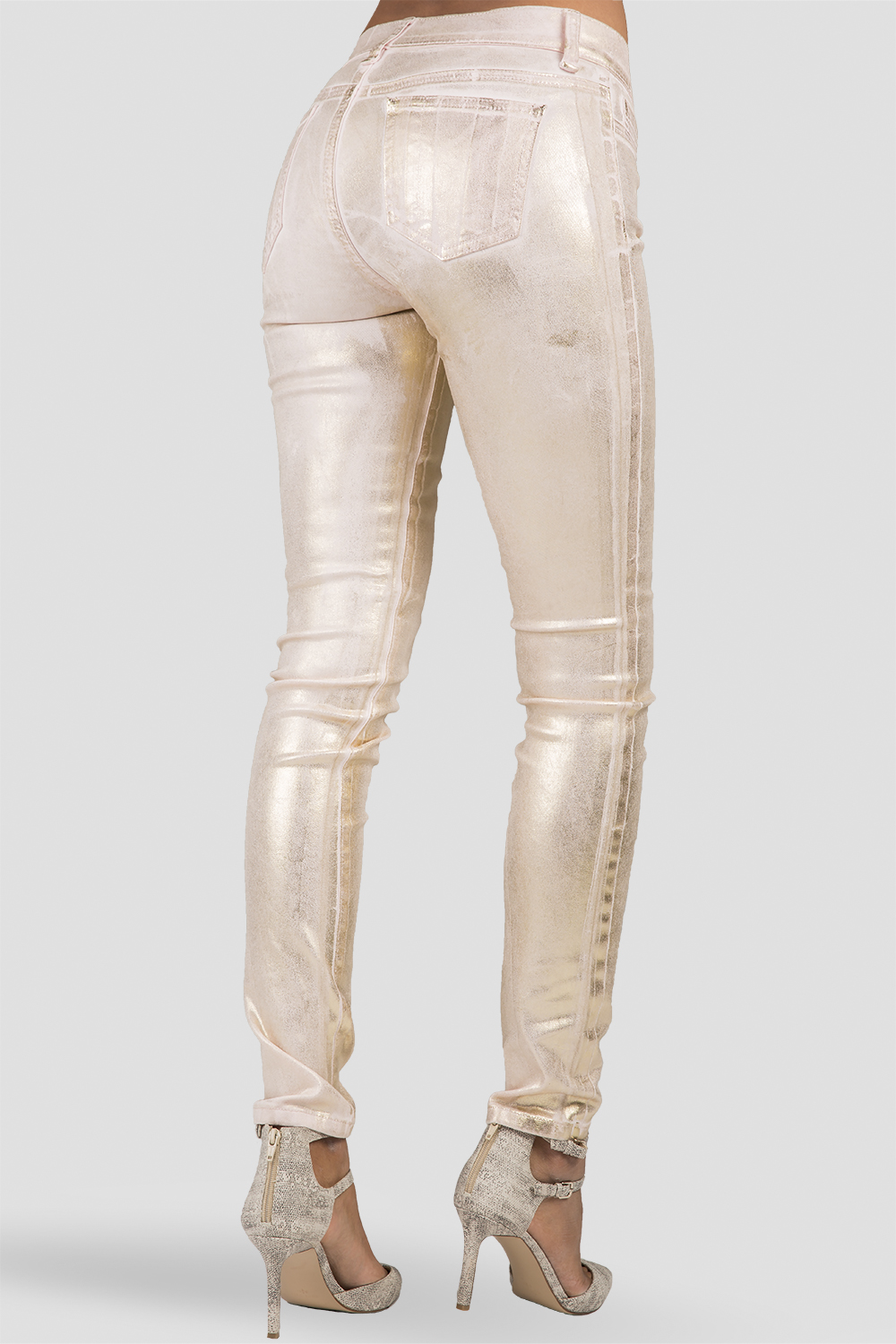 Women Shiny Rose Gold Skinny Jeans