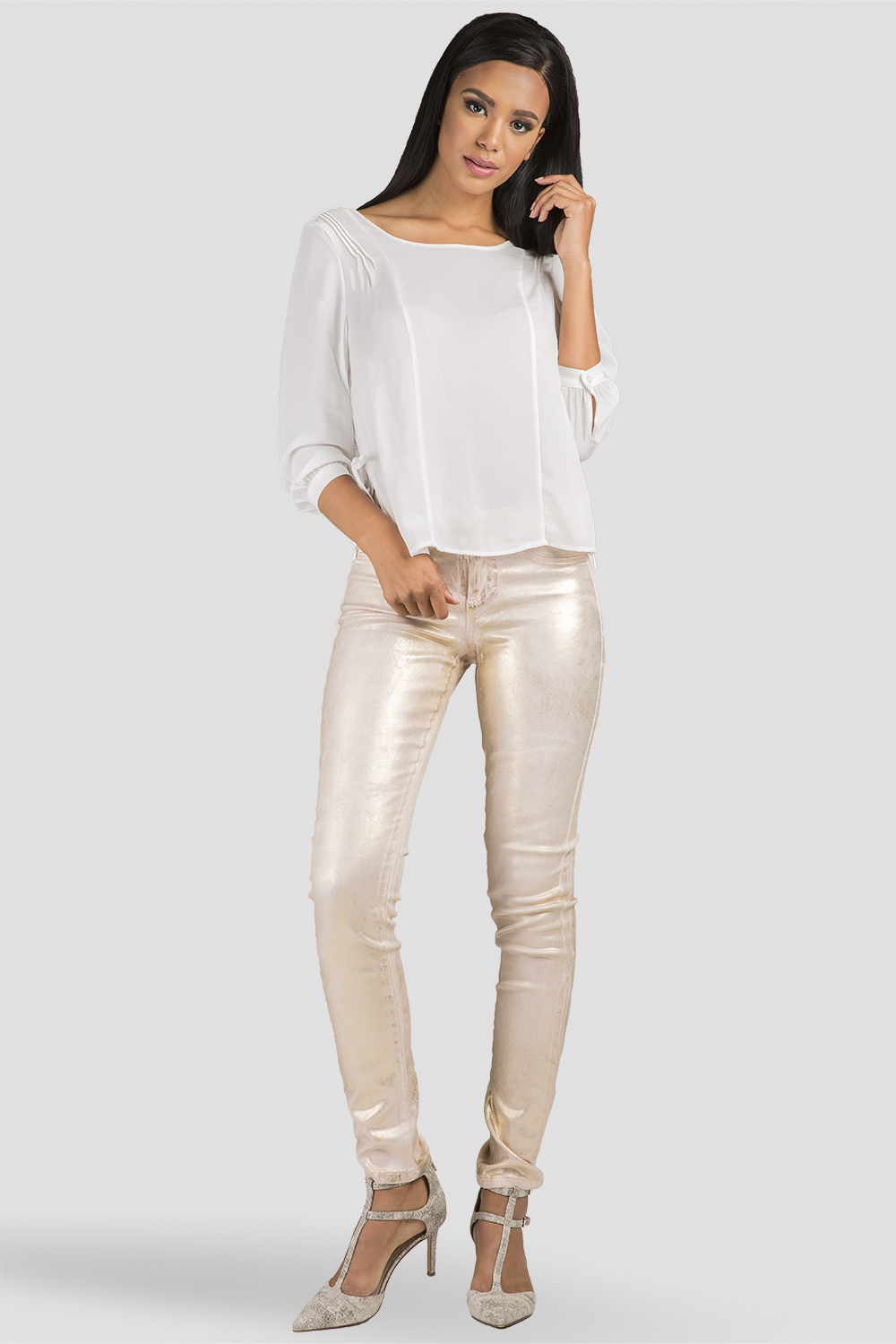 Women Gold Metallic Skinny Jeans