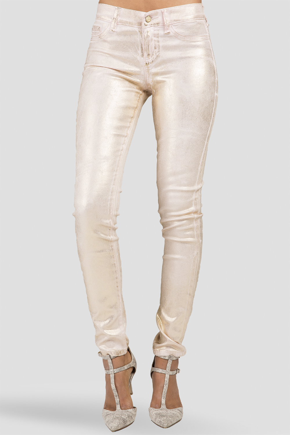 Women Metallic Pink Gold Skinny Jeans