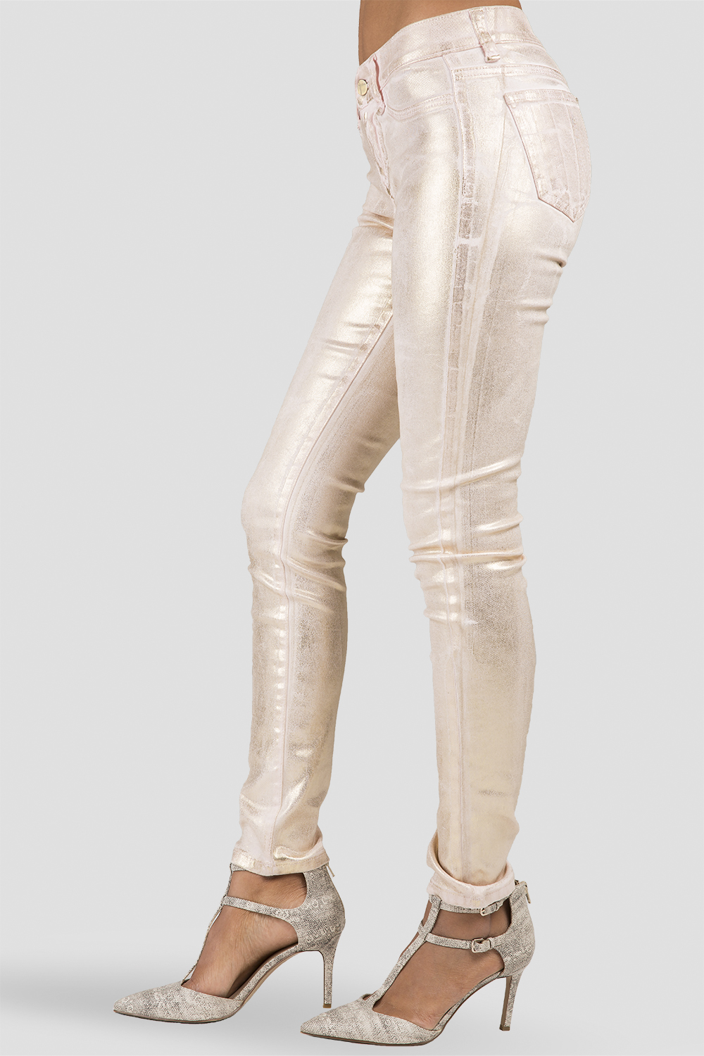 Women Rose Gold Metallic Pink Jeans