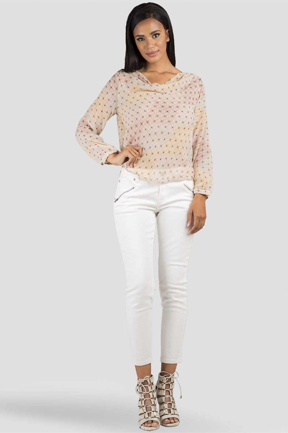 Women Ivory Cropped Skinny Jeans