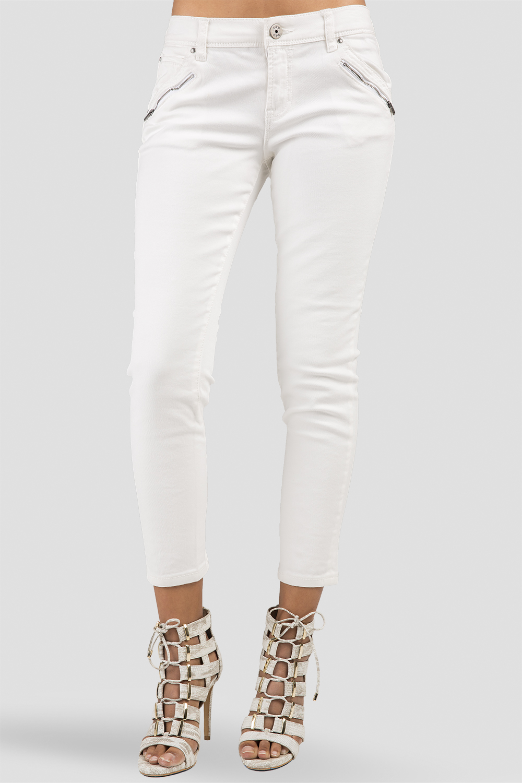 Women Ivory Ankle Skinny Jeans