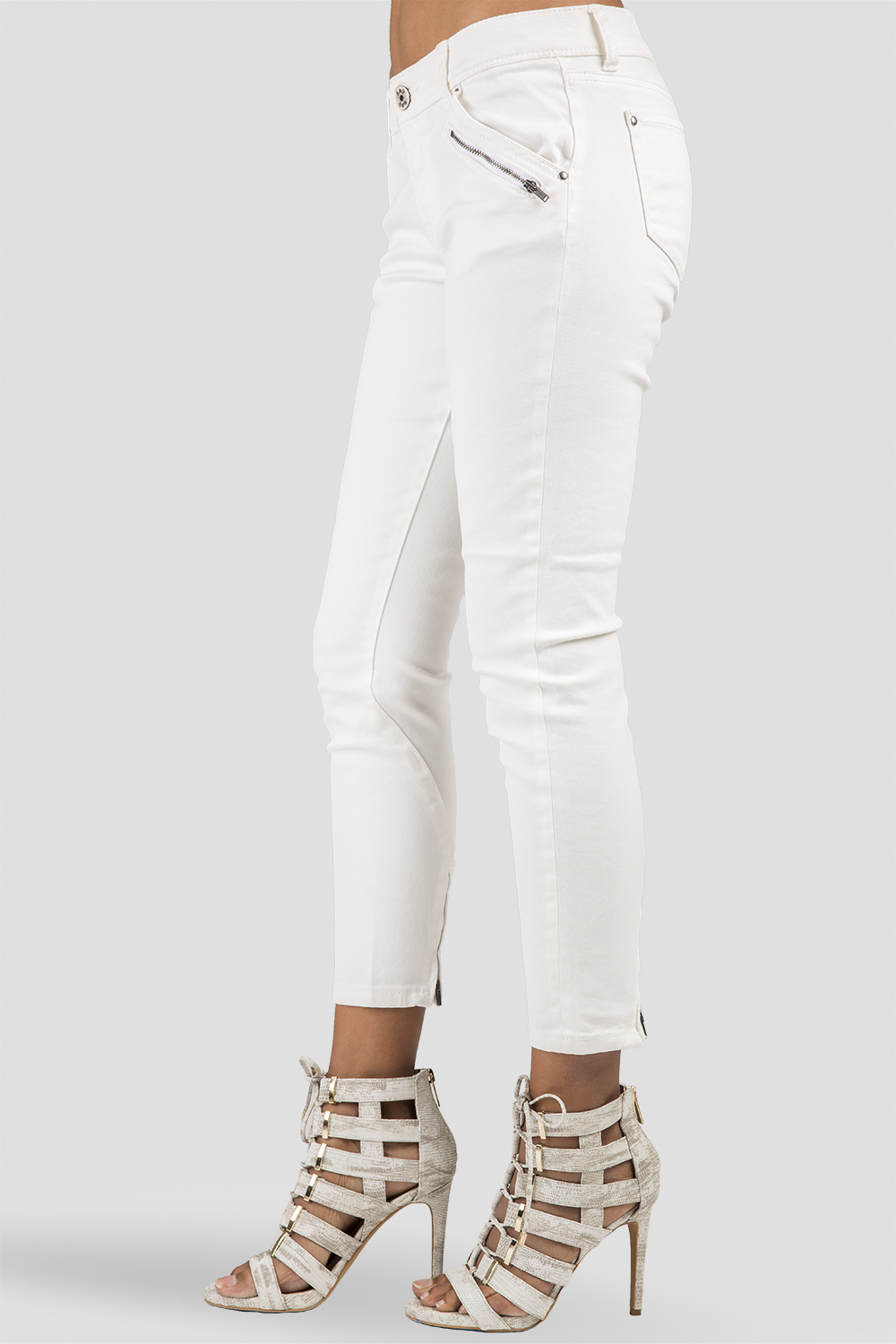 Women Ivory Ankle Zippers Skinny Jeans