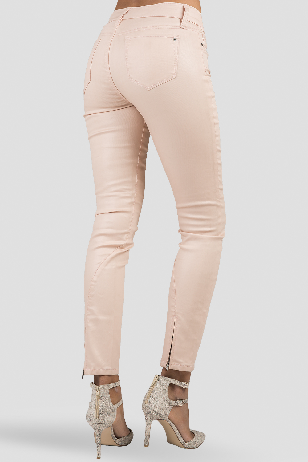 Women Light Pink Cropped Skinny Jeans