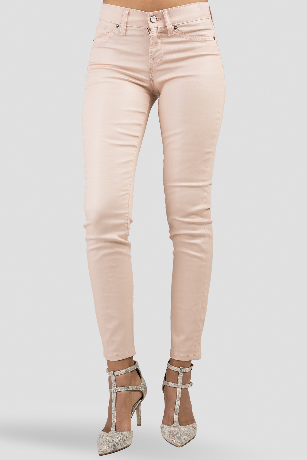 Women Light Pink Coated Skinny Jeans
