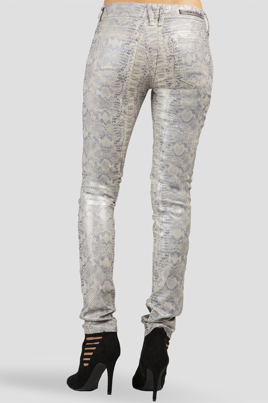 Women Snake Coated Skinny Jeans