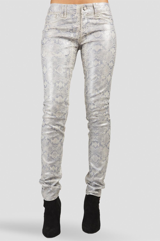 Women Snake Print Coated Skinny Jeans