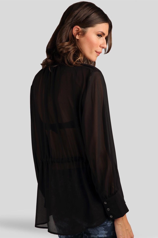 Women Black Chiffon Tuxedo Blouse