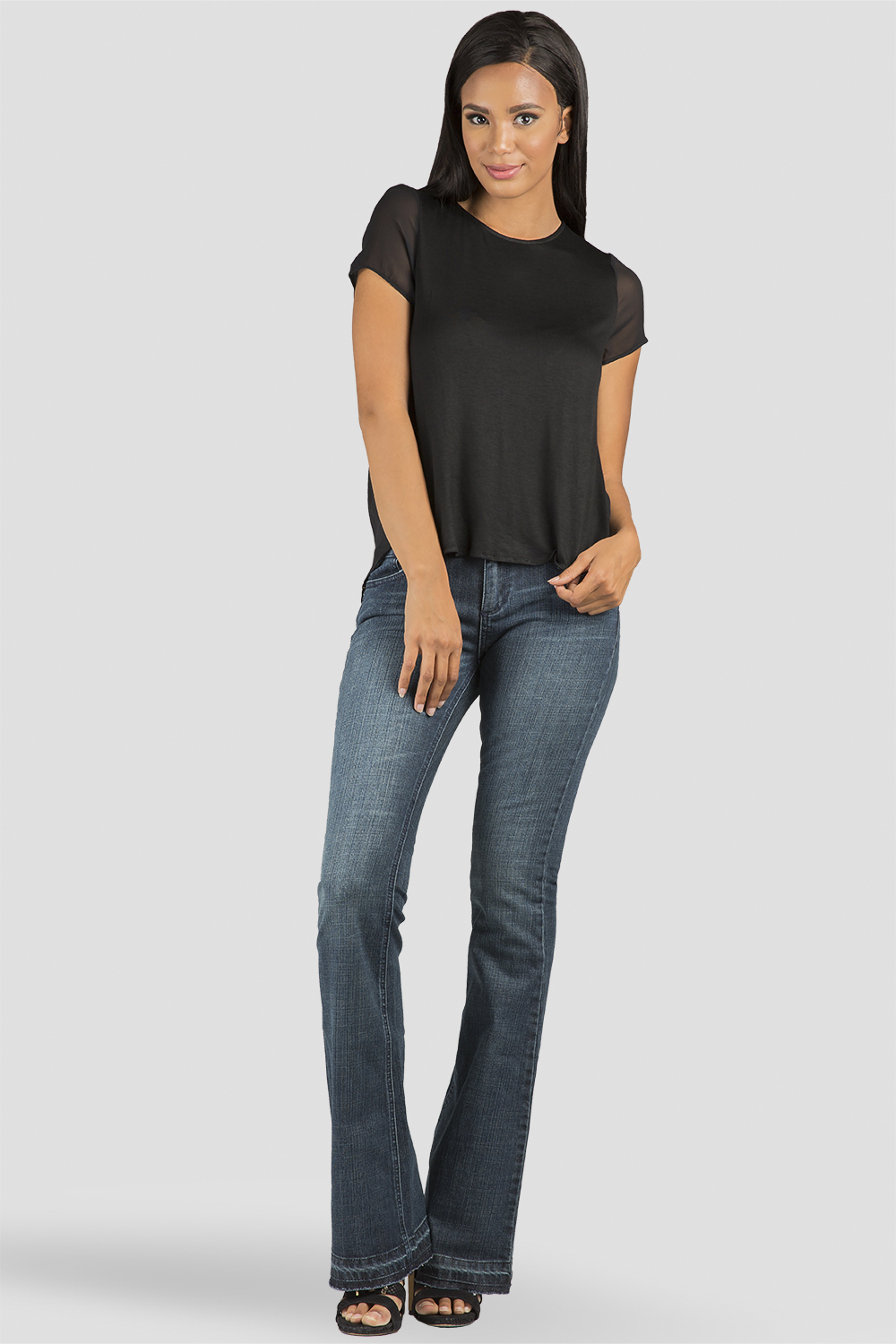 Standards & Practices Blue Rinse Denim Flare Jeans with Raw Released Hem