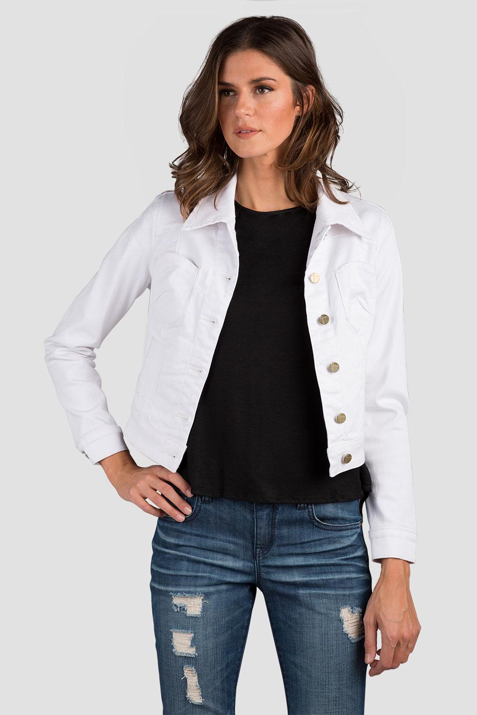 Women White Cropped Denim Jacket
