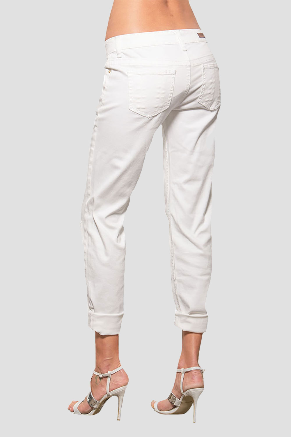 Women White Low-Rise Destroyed Jeans