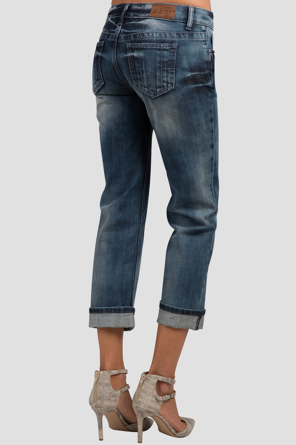 Denim Low Rise Rolled Jeans