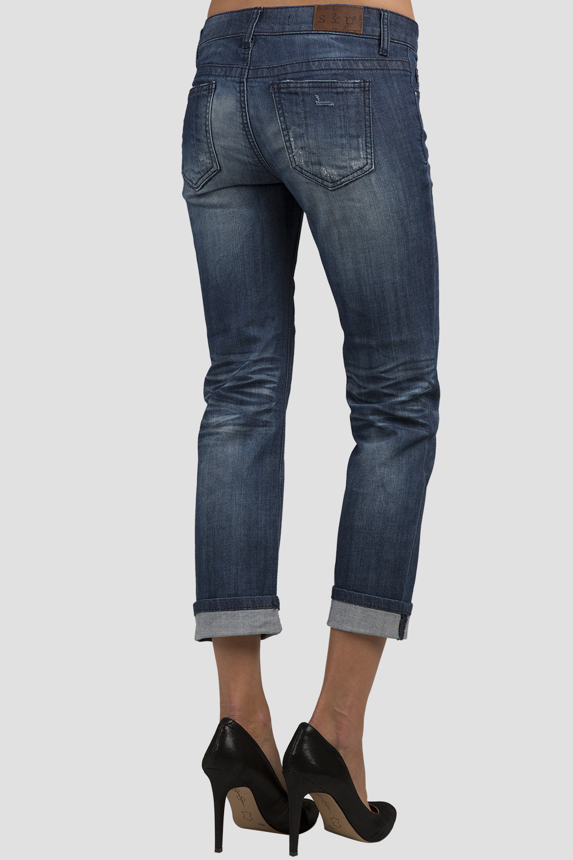 Women Denim Destroyed Low-Rise Boyfriend Jeans