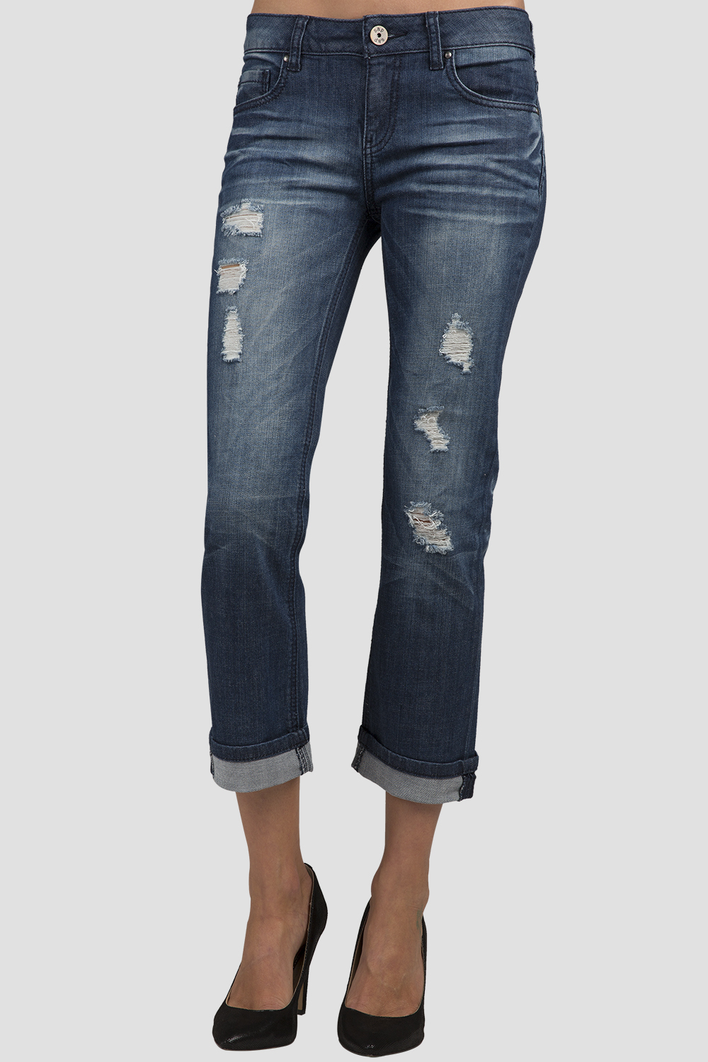 Women Denim Destroyed Low-Rise Rolled Jeans