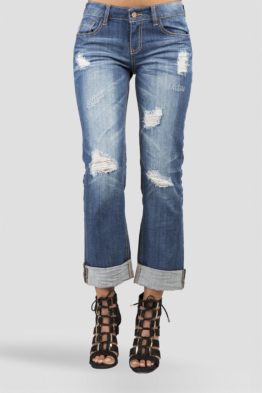 Destroyed Denim Mid-rise Jeans