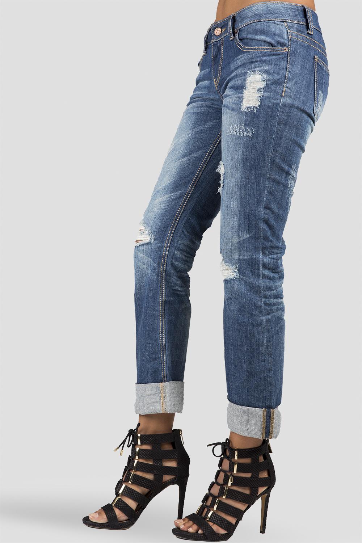 Women Destroyed Denim Mid-rise Jeans