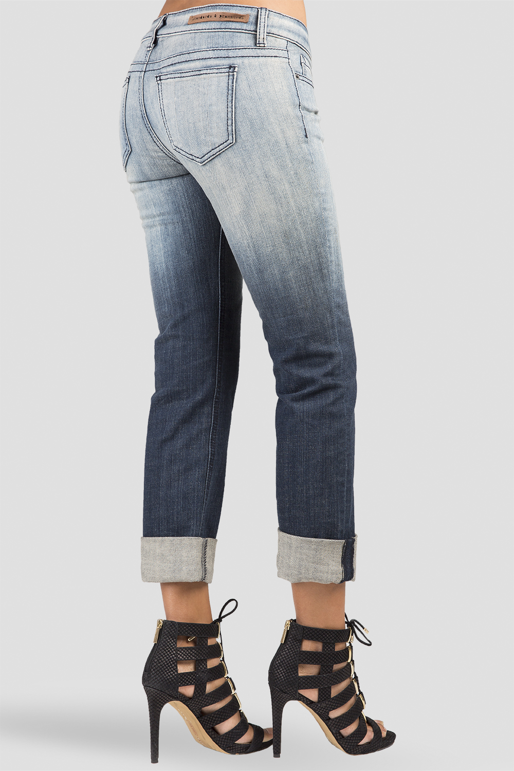 Women Denim Ombre Rolled Jeans