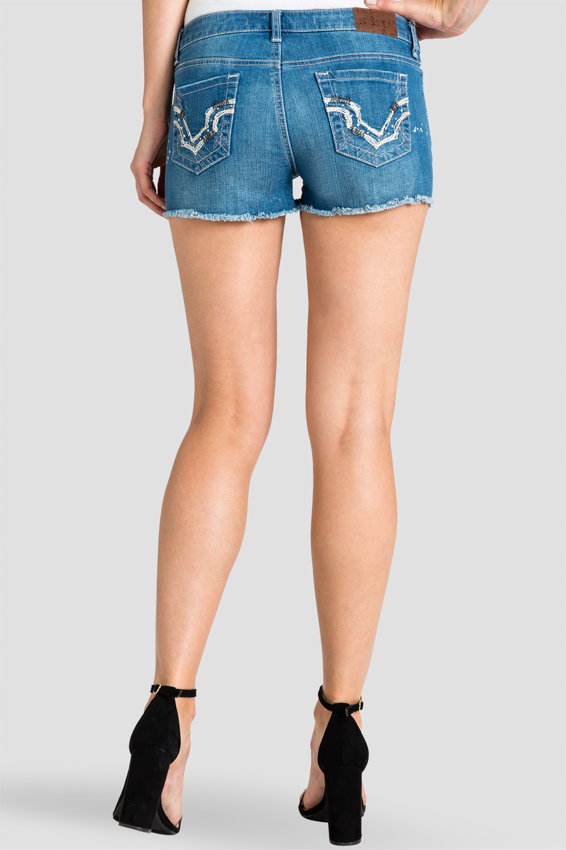 Women Denim Embroidered Pocket Shorts