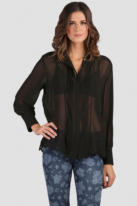 Women Black Chiffon Long Sleeve Blouse