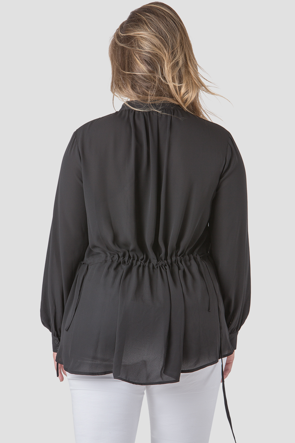 Plus Size Women Black Chiffon Drawstring Blouse