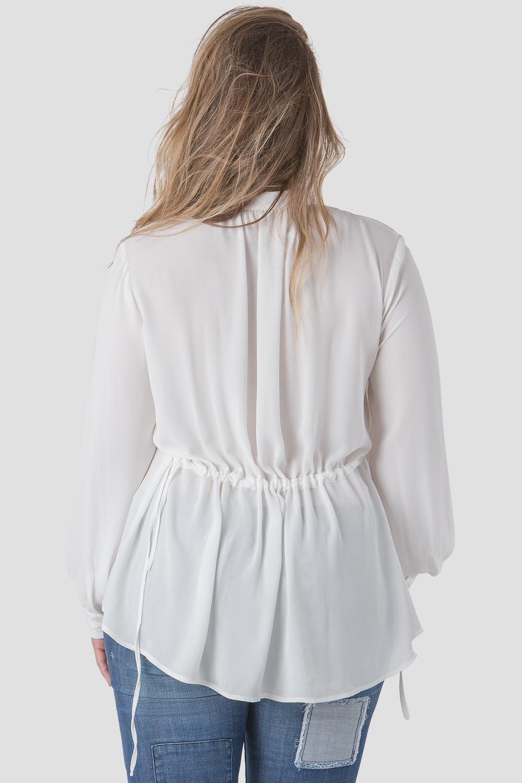 Plus Size Women Mandarin Collar Front Blouse