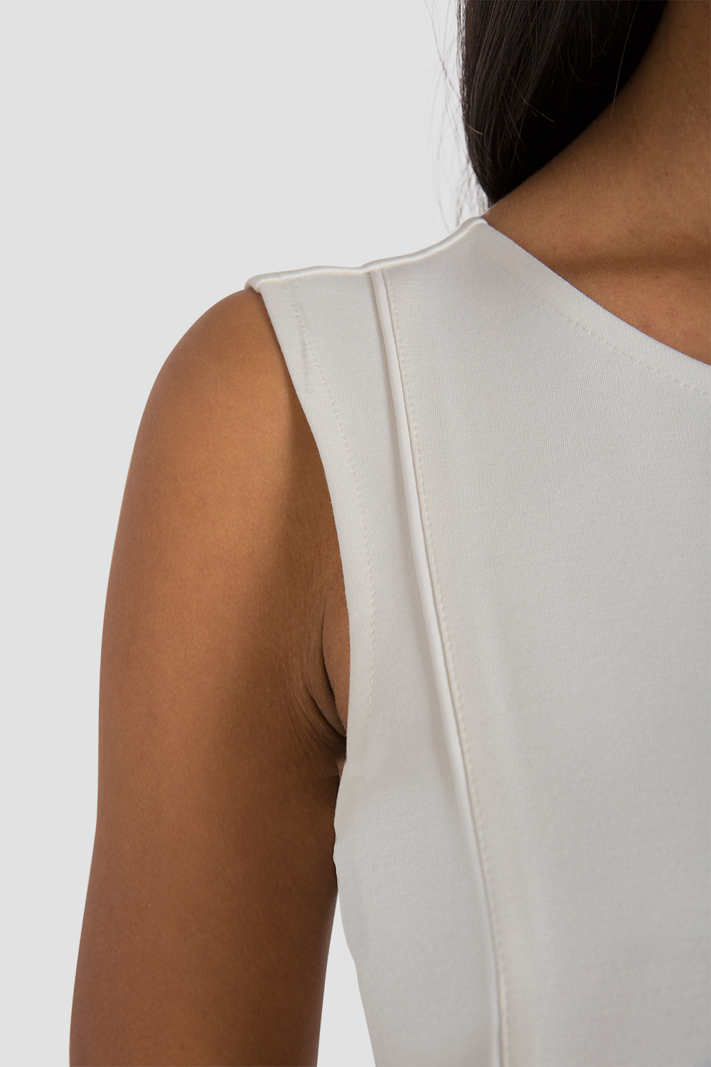 Women's Cropped White Ponte Sleeveless Shirt